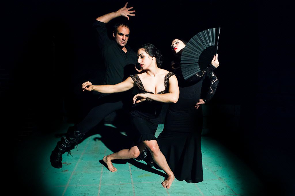 Antonio Arrebola, Danielle Goergiou (middle) and Delila Muse star in El Conde Dracula at Ochre House.