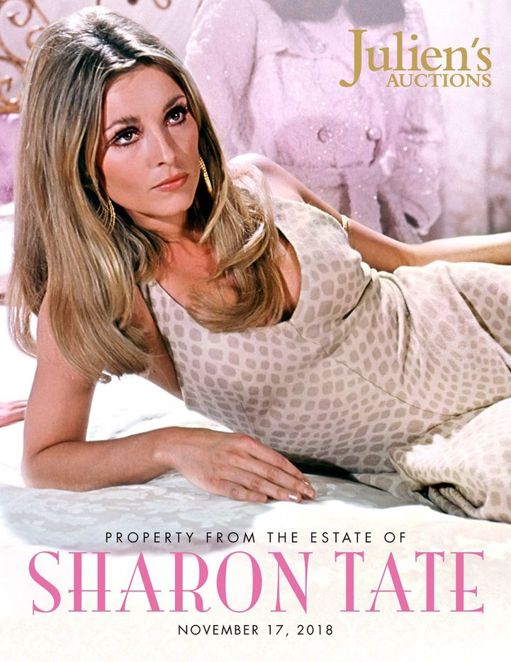 The auction cover photo, including a photograph of Sharon Tate.
