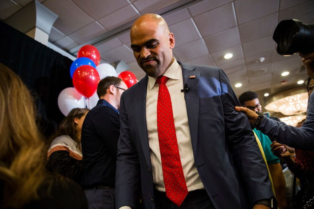 Colin Allred walked off the stage in Dallas after making his victory speech.