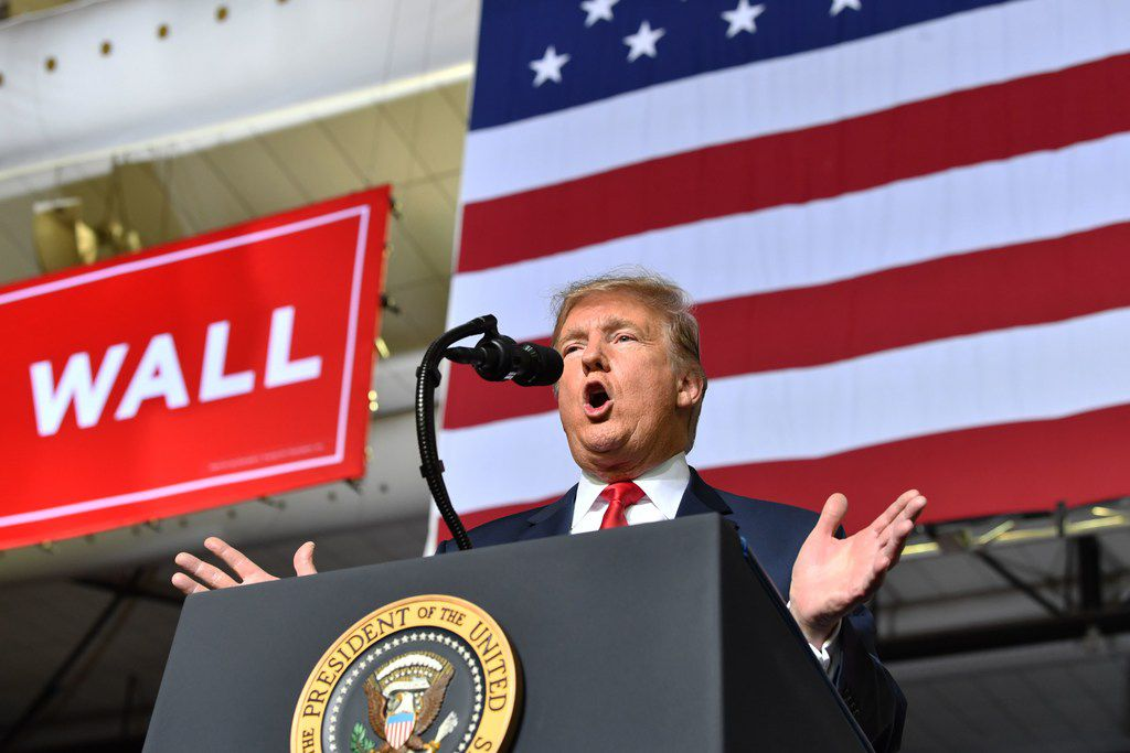 President Donald Trump speaks during a rally in El Paso on Feb. 11, 2019.