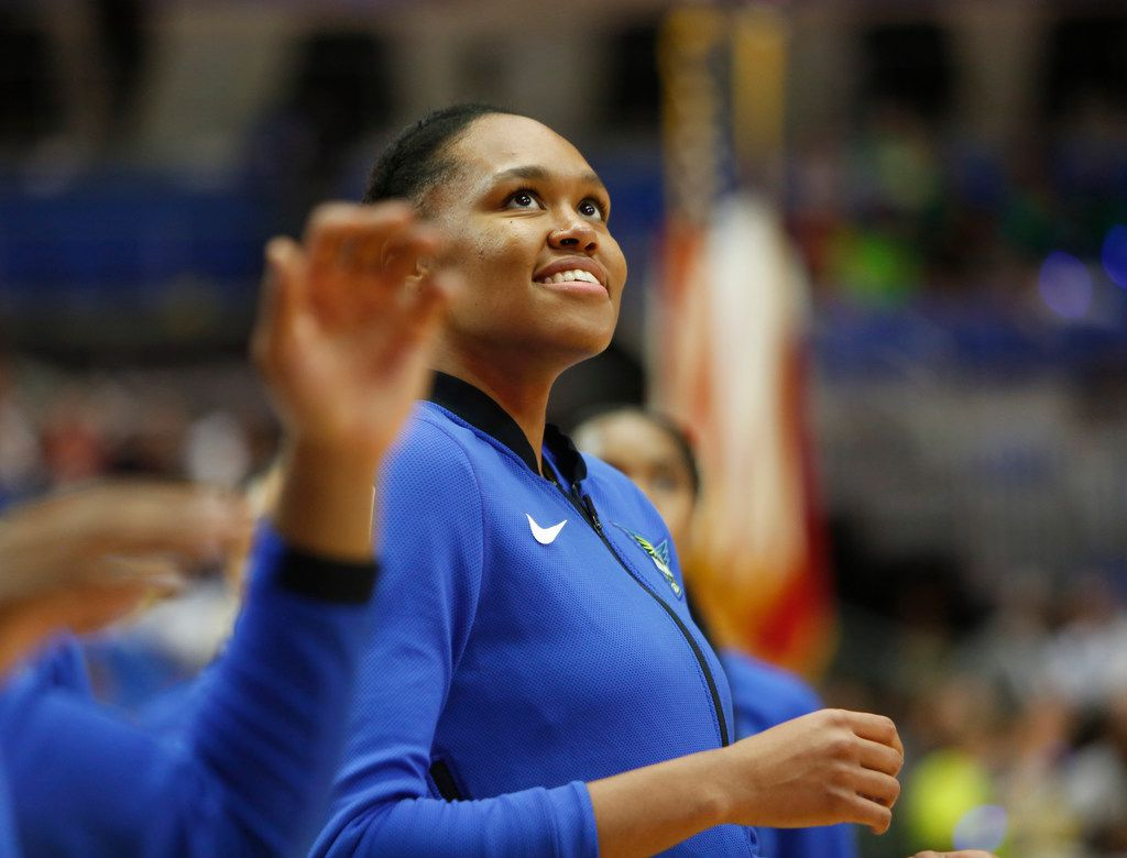 Dallas Wings forward Azura Stevens (30) beams as she watches a teammate score during team warm-ups before the start of their game against Minnesota Lynx. The Wings hosted the Minnesota Lynx in their season home opener at UT-Arlington's College Park Center in Arlington on June 1, 2019. (Steve Hamm/ Special Contributor)