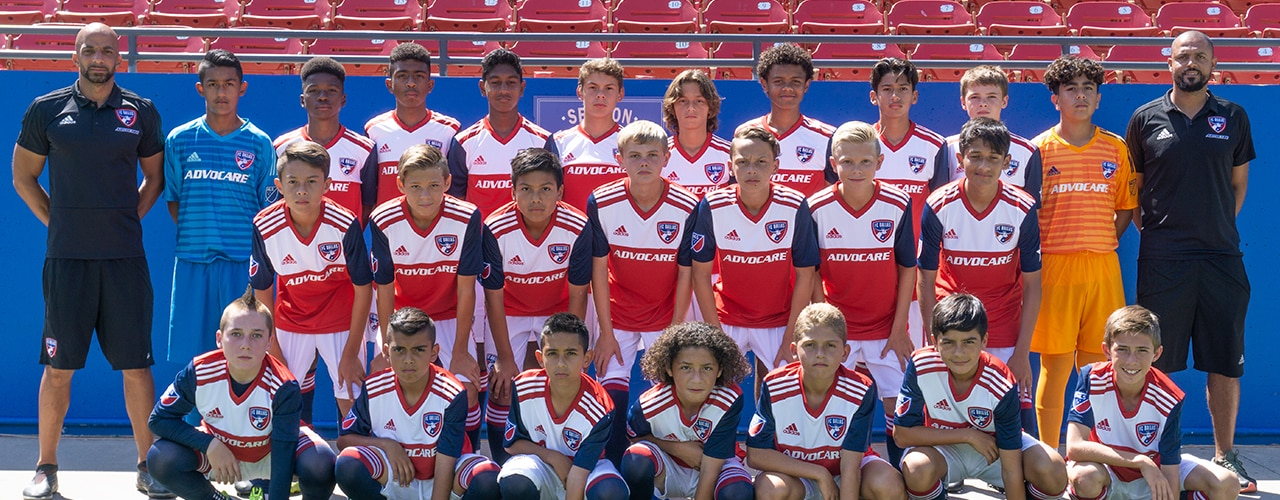 The 2018-19 FC Dallas U14 Academy team formally coached by Peter Luccin.