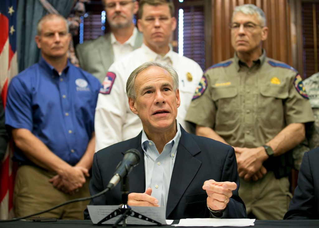 Gov. Greg Abbott talks about the effort to recover from Hurricane Harvey at a news conference at the Capitol in Austin on Thursday, Sept. 7, 2017.
