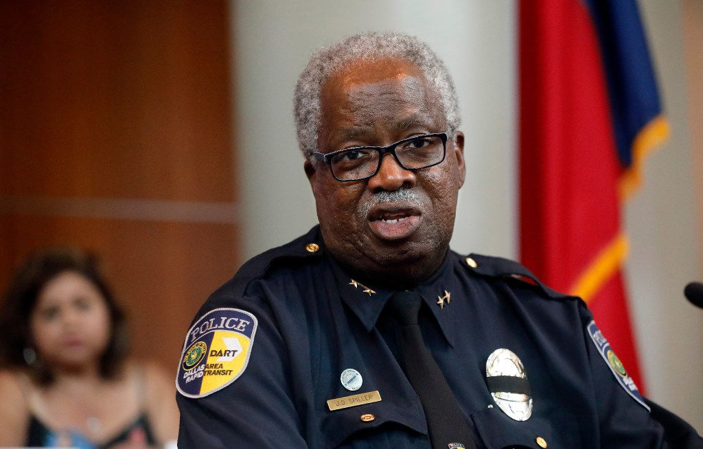 DART Chief of Police James D. Spiller speaks during a July 7 Anniversary panel discussion at Dallas Police Headquarters in Dallas, Friday, July 7, 2017. DPD and DART police discussed progress they've made since the ambush shooting in downtown Dallas a year ago. (Tom Fox/The Dallas Morning News)