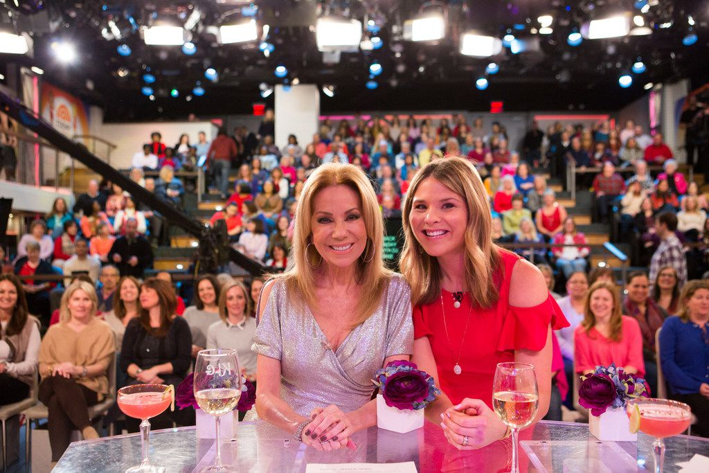 Kathie Lee Gifford and Jenna Bush Hager pose in front of a live audience on Monday, Feb. 12, 2018. On Tuesday, Feb. 13, they welcomed Bush Hager's mother, former first lady Laura Bush, as a special guest.