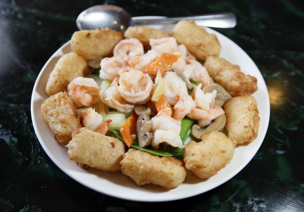 King Chinese BBQ's shrimp with fried milk custard and vegetables