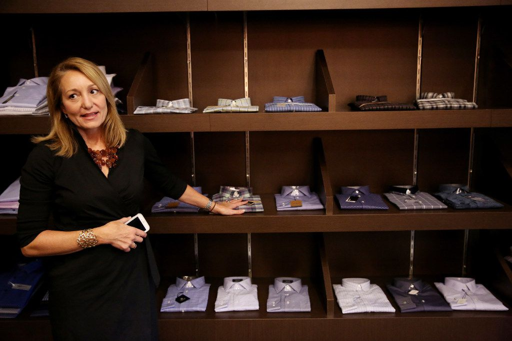 Lisa Mullman, senior vice president for design, product development and sourcing, speaks to The Dallas Morning News while at The Apparel Group Ltd. distribution center in Lewisville, Texas Thursday August 10, 2017.  The company is selling its Enro brand of men's shirts directly to the consumer both on Amazon.com and on enro.com. (Andy Jacobsohn/The Dallas Morning News)