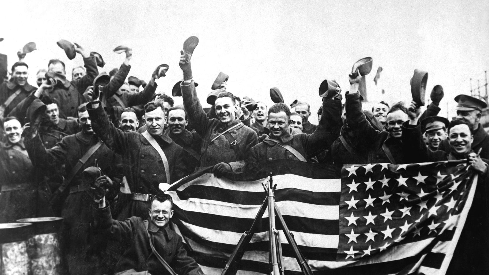 American troops in Russian port about to leave that country, circa 1919.