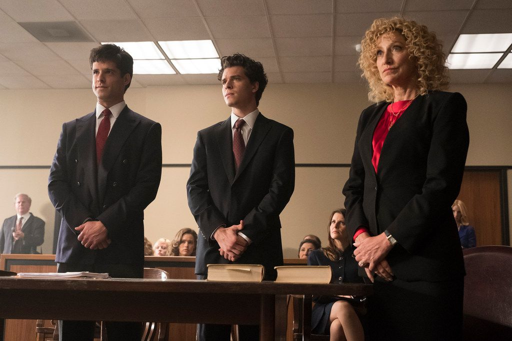 From left: Miles Gaston Villanueva stars as Lyle Menendez, Gus Halper as Eric Menendez and Edie Falco as Leslie Abramson in NBC's Law & Order True Crime: The Menendez Murders.