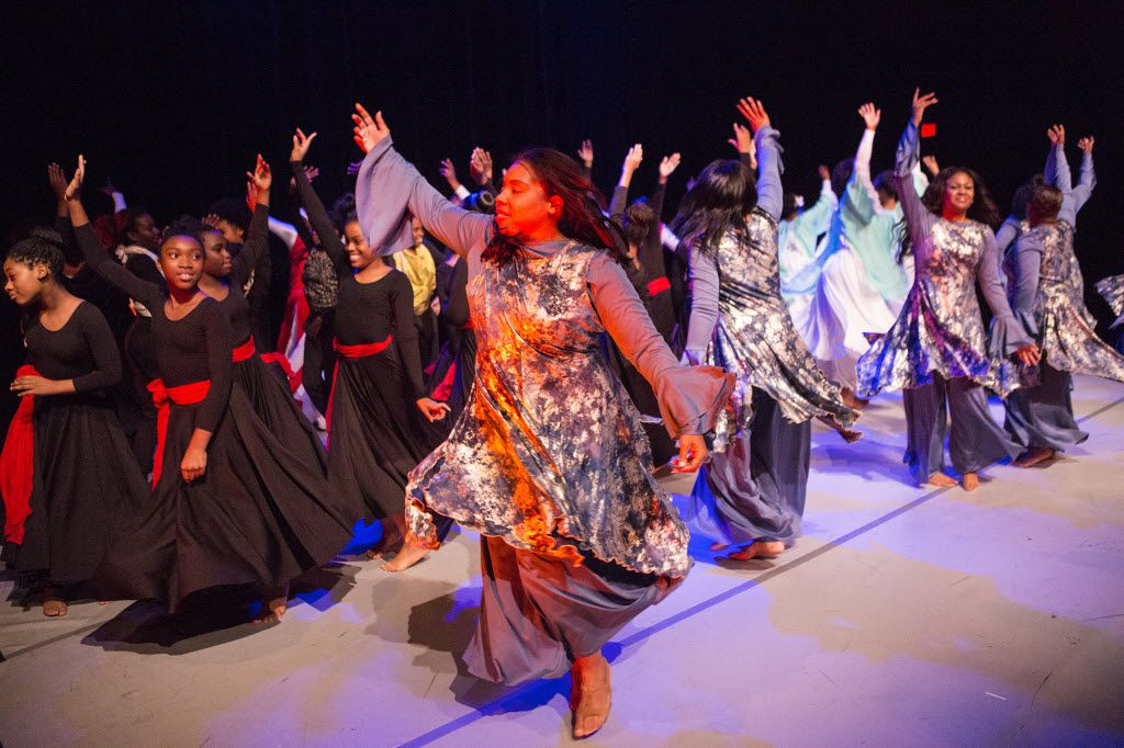 Praise groups perform a final dance during the South Dallas Dance Festival on Nov. 15, 2015, at the South Dallas Cultural Center.