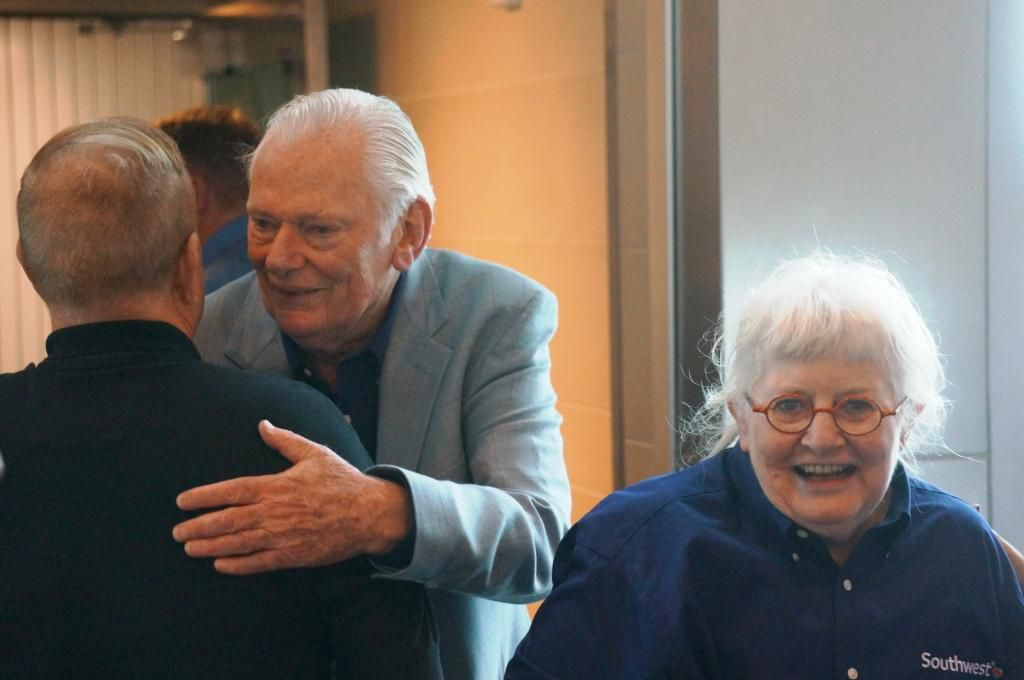 Herb Kelleher finds someone to hug as he and Colleen Barrett enjoy the end of the Wright amendment on Oct. 13, 2014, at Love Field. (Terry Maxon/DMN)