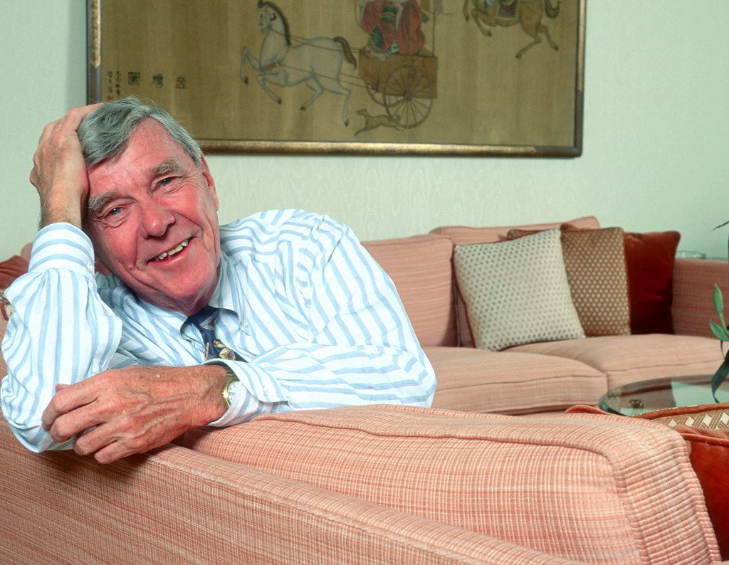 Author Russell Baker poses for a portrait on February 24, 2003, while he was the host of Masterpiece Theatre on PBS. Baker died on January 21, 2019; he was 93.