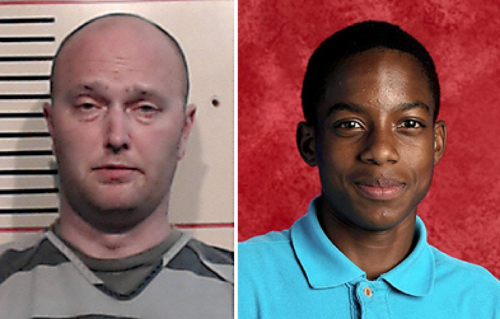 Roy Oliver, left, fired Balch Springs police officer was arrested on a murder charge after shooting Jordan Edwards, right, as the car he was riding in drove away from police.