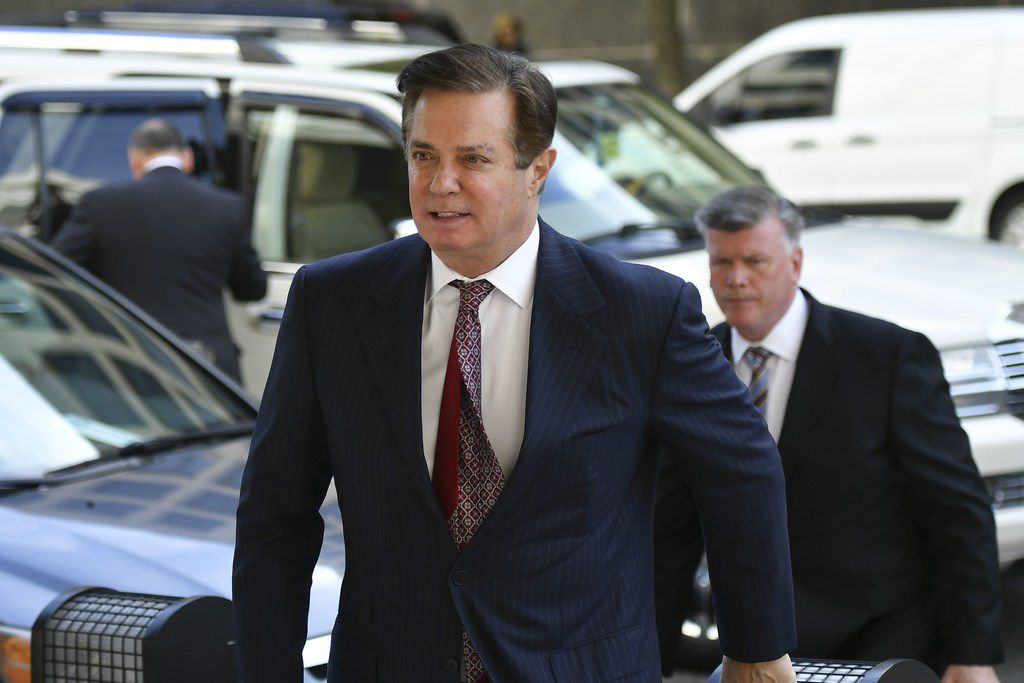 (FILES) In this file photo taken on June 15, 2018 Paul Manafort arrives for a hearing at US District Court on June 15, 2018 in Washington, DC. - Manafort was found guilty on 8 charges of tax and bank fraud and the judge declared a mistrial on 10 other counts, on August 21, 2018. (Photo by MANDEL NGAN / AFP)MANDEL NGAN/AFP/Getty Images