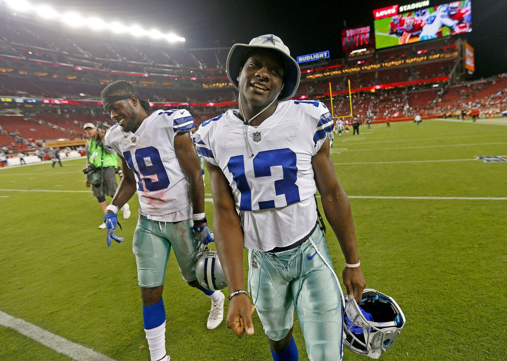 Dallas Cowboys wide receivers Michael Gallup (13) and Mekale McKay walk off the field after a 24-21 loss to San Francisco 49ers at Levi's Stadium in Santa Clara, Calif., Thursday, Aug. 9, 2018. (Jae S. Lee/The Dallas Morning News)