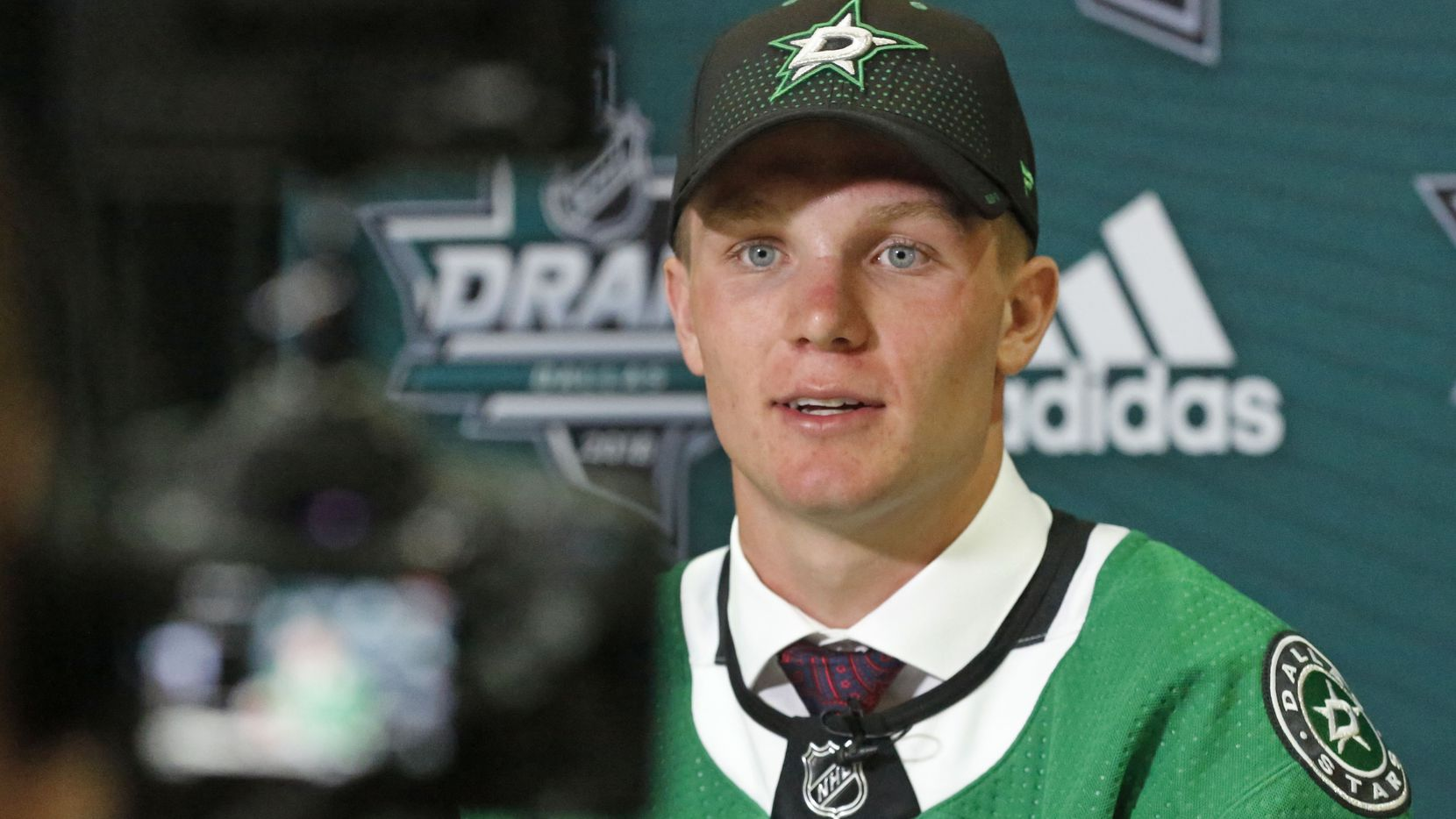 Dallas Stars first round draft pick Ty Dellandrea talks with the media after being selected with the Dallas Stars first draft pick at the 2018 National Hockey League draft held at the American Airlines Center in Dallas on Friday, June 22, 2018. (Louis DeLuca/The Dallas Morning News)