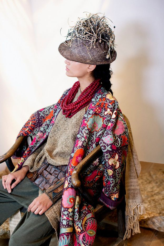 A look by Donna Karan's Urban Zen, styled with jewlery from the International Folk Art Market