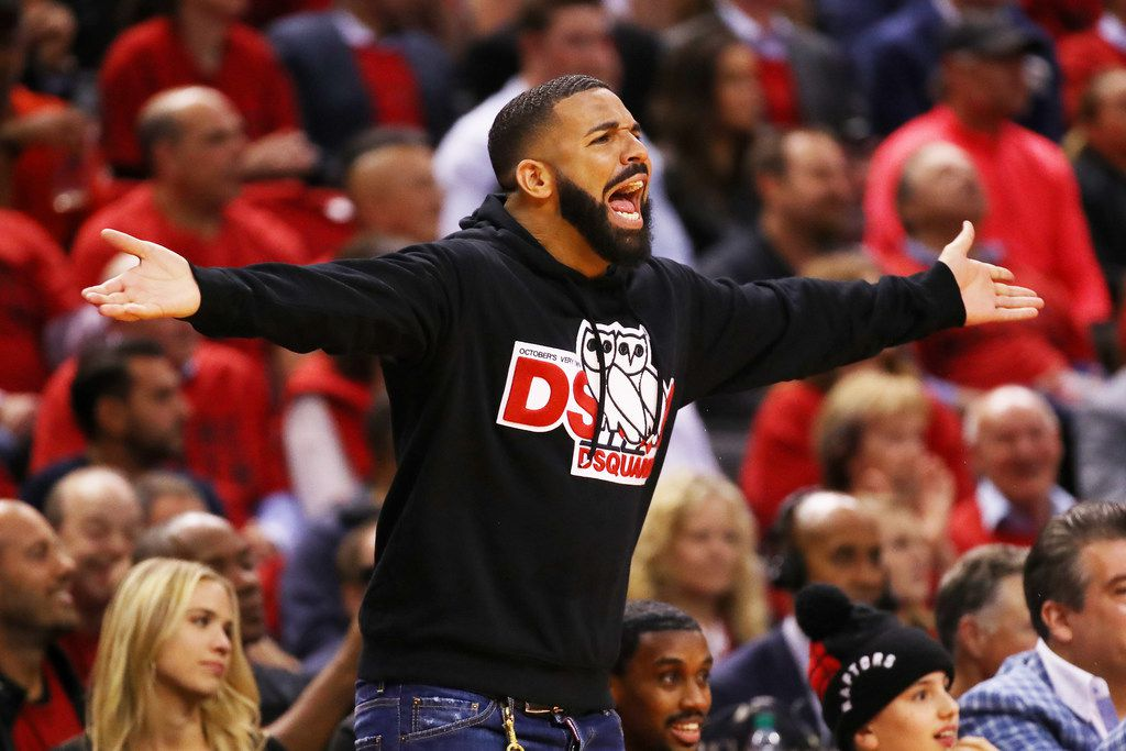 Rapper Drake reacts during game four of the NBA Eastern Conference Finals between the Milwaukee Bucks and the Toronto Raptors on May 21, 2019 in Toronto, Canada.