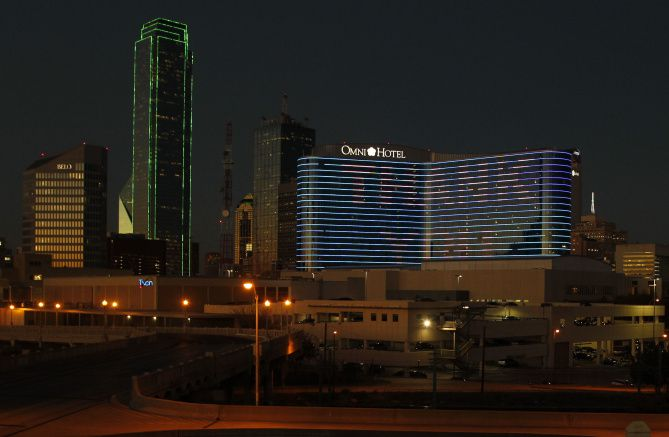 "The Omni Dallas Hotel used its exterior lights to spell out a big ""thank you' as it approached its one-year anniversary in November."