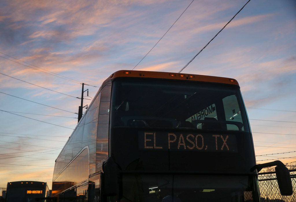 A departing bus is seen at a Tornado Bus station in El Paso on Saturday, March 30, 2019.