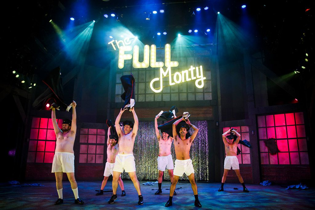 From left: Greg Hullett, Brandon Wilhelm, Michael Issac, Selmore Haines, III,  Aaron Green, and Tom Grugle perform during dress rehearsal of the final scene of the Uptown Players production of  The Full Monty  at the Kalita Humphreys Theater.