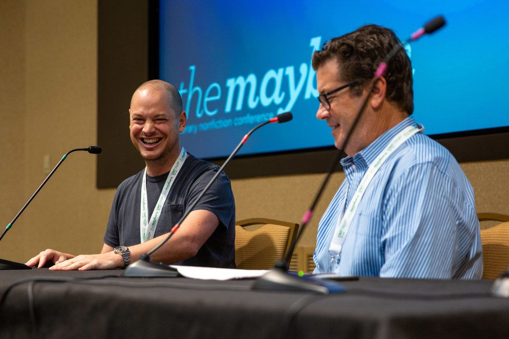 Journalist Jeff Maysh cracks up during a conversation led by Texas Monthly's Skip Hollandsworth at the Mayborn Literary Nonfiction Conference.
