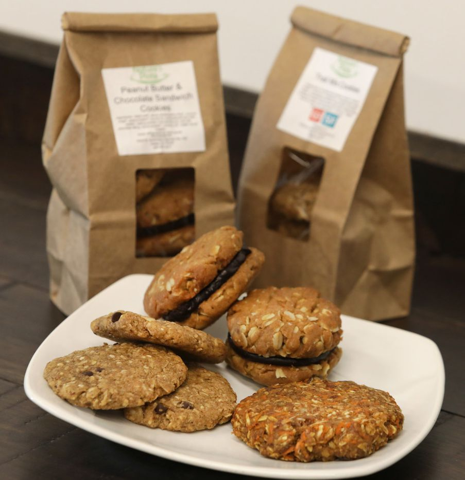 Nature's Plate offers vegan cookie options. Featured are the Trail Mix and Peanut Butter and Chocolate Sandwich cookies.