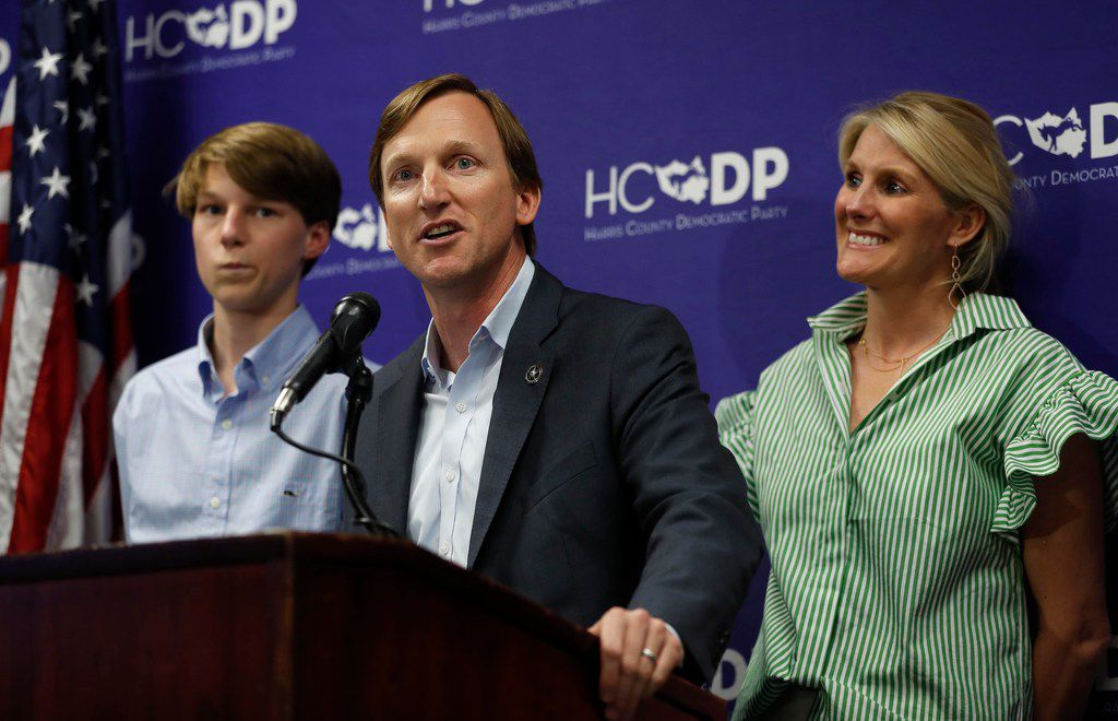 Democratic candidate for governor Andrew White speaks to the media with his family beside him as he conceded to candidate Lupe Valdez at the Harris County Democratic Party headquarters, Tuesday, May 22, 2018, in Houston.