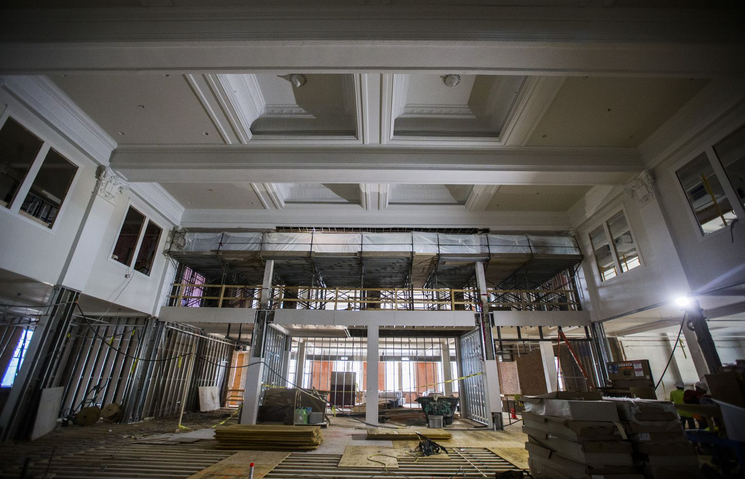 """Architects and preservationists have been working with Matthews Southwest to restore """"phenomenal"""" spaces, like this old auditorium, in the 110-year-old high school. The developer bought the landmark in 2015, and plans to reopen it later this year."""
