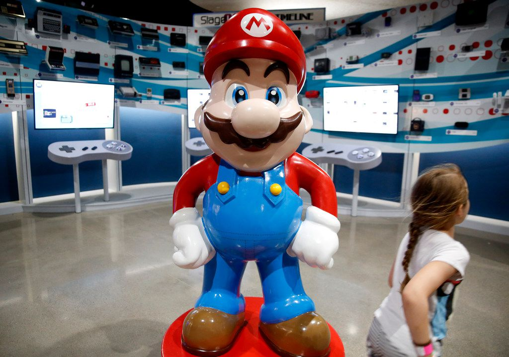 A statue of Mario at an exhibit at the National Videogame Museum in Frisco, Texas on Aug. 2, 2018. (Rose Baca/The Dallas Morning News)