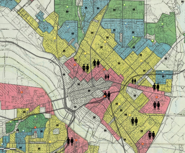 """The 1937 Dallas HOLC (Home Owners Loan Corporation) security map for Dallas, showing """"redlined"""" areas where mortgages would not be guaranteed. (Source: Mapping Inequality)"""
