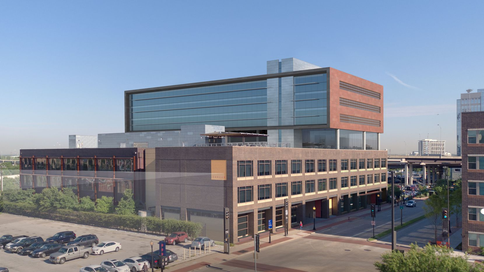 The 7-story Luminary office building is being constructed by Crescent Real Estate.