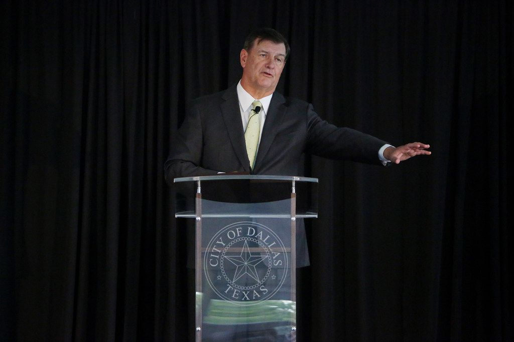 Dallas Mayor Mike Rawlings speaks at the 2018 GrowSouth Annual Report event at the Trinity Forest Golf Club in Dallas Thursday May 24, 2018. GrowSouth is a plan to build sustainable growth in the southern section of the city of Dallas.