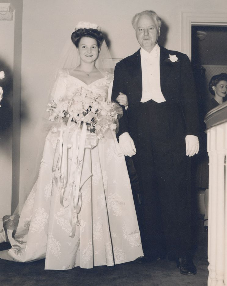 Caroline Hunt walking down the aisle with her father, H.L. Hunt, for her marriage to Loyd Sands.