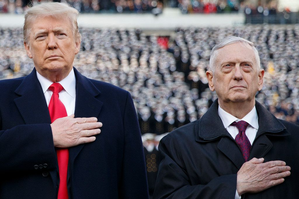 President Donald Trump and Defense Secretary Jim Mattis attend the annual Army-Navy football game at Lincoln Financial Field in Philadelphia on Dec. 8. (Tom Brenner/The New York Times)