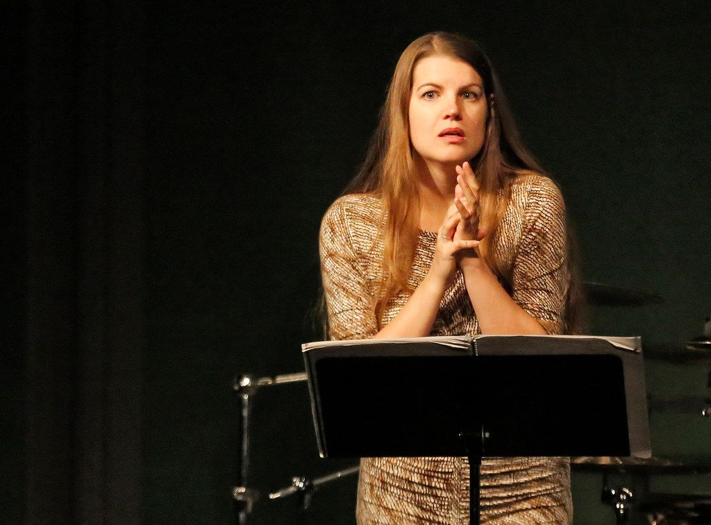 """Vocalist Melanie Henley Heyn performs Sofia Gubaidulina's """"Galgenlieder a 3"""" at a""""Soundings"""" modern music concert at the Nasher Sculpture Center in Dallas on Wednesday, Oct. 24, 2018."""