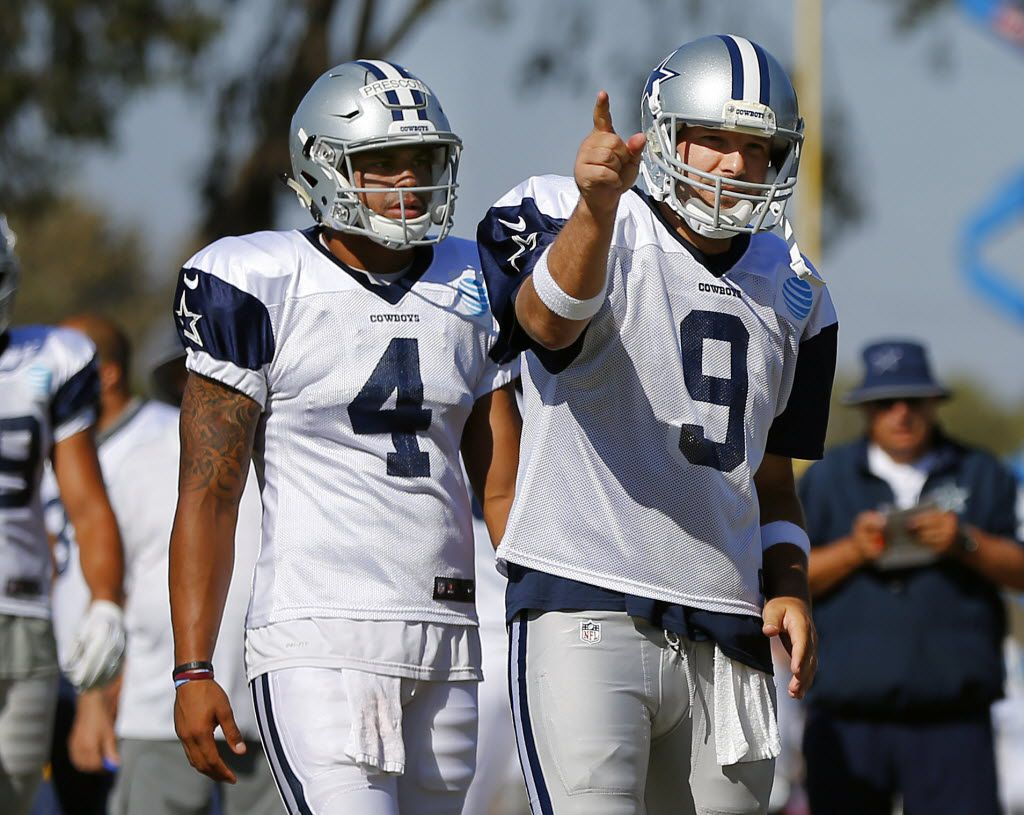 Dallas Cowboys quarterbacks Tony Romo (9) and quarterback Dak Prescott (4) are pictured during afternoon practice at training camp in Oxnard, California, Saturday, August 6, 2016. (Tom Fox/The Dallas Morning News)