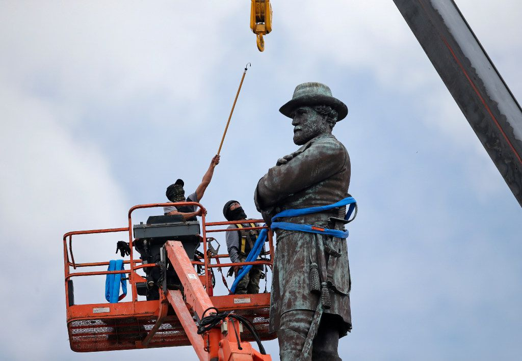 On May 19, 2017, workers took down a statue of Confederate Gen. Robert E. Lee, which stood over 100 feet tall at Lee Circle in New Orleans.