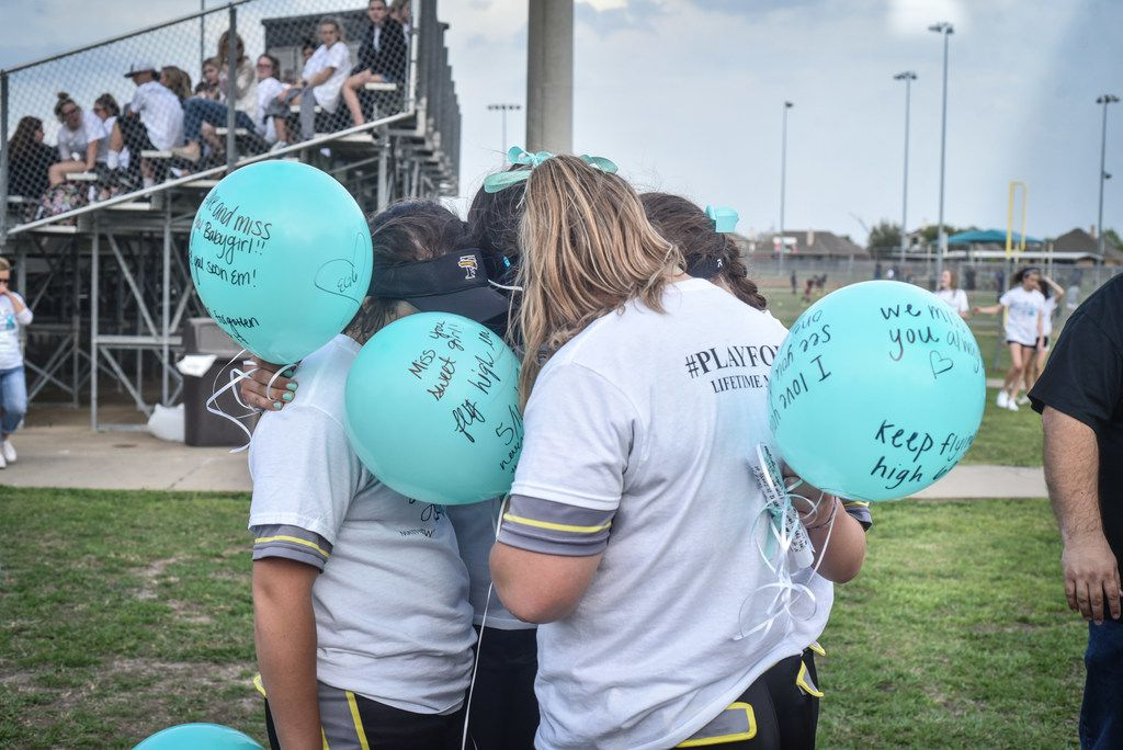 The Forney softball team held PlayforEm night on Monday, March 26, 2018, paying tribute to former player Emily Galiano, who died in 2017.