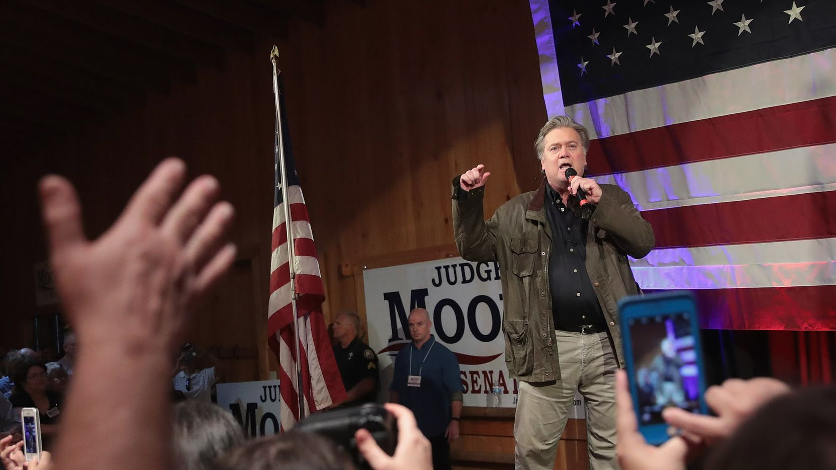 Former advisor to President Donald Trump and  executive chairman of Breitbart News, Steve Bannon, speaks at a campaign event for Republican candidate for the U.S. Senate in Alabama Roy Moore on September 25, 2017 in Fairhope, Alabama.