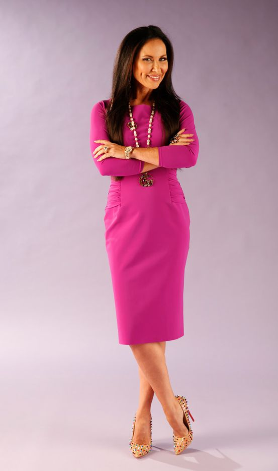 """LeeAnne Locken, a cast member on """"The Real Housewives of Dallas,"""" poses for a photograph in The Dallas Morning News studio on Wednesday, Aug. 8, 2018. Locken is rocking her rock from her intended. I know you can see it."""