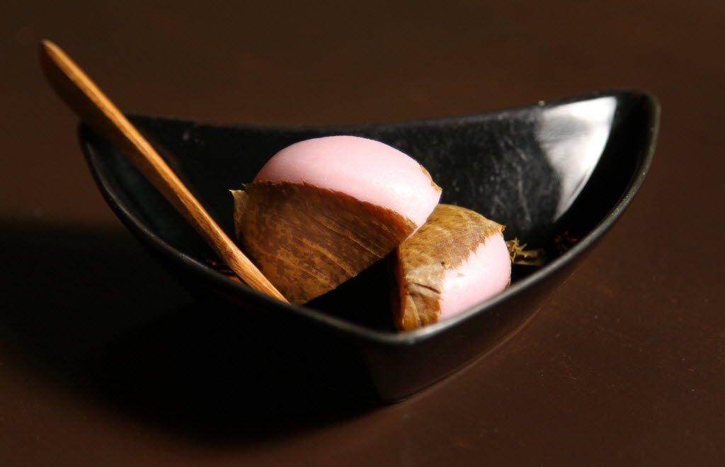 Sakura mochi, served at Masami Japanese Sushi and Cuisine in Richardson, is an example of wagashi.