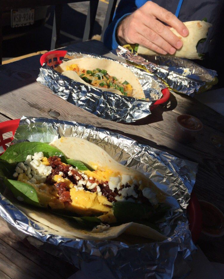 Yelper Stephanie A. says breakfast tacos are always good. We salute you, ma'am.