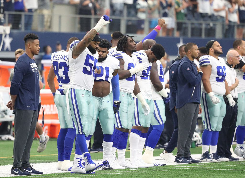 Dallas Cowboys defensive end Damontre Moore (58) gestures after the national anthem during an  NFL football game between the Green Bay Packers and the Dallas Cowboys on Sunday, Oct. 8, 2017, in Arlington, Texas.  (Tom Hauck via AP) ORG XMIT: NYWWP
