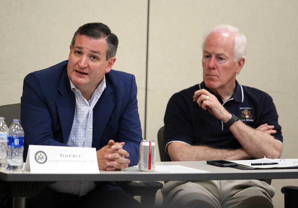 U.S. Sen. Ted Cruz, R-Texas, left, speaks while fellow Sen. John Cornyn R-Texas, listens as federal officials, lawmakers and local officials hold a roundtable at the U.S. Border Patrol station on Friday, June 22, 2018, in Weslac