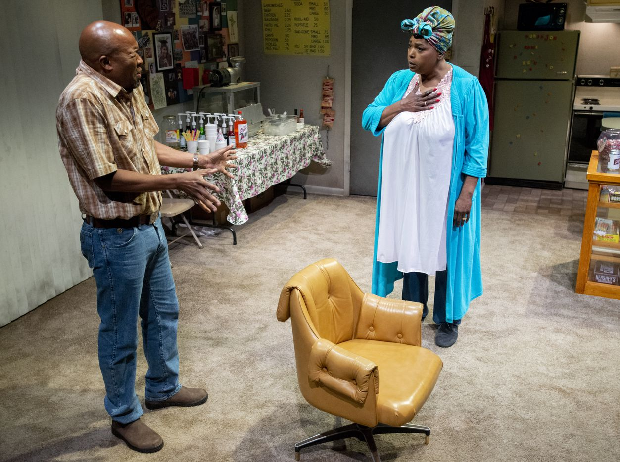Leon Addison Brown and Liz Mikel perform a scene from the world premiere of Dallas playwright Jonathan Norton's play Penny Candy on June 5 at Wyly Theatre in Dallas.