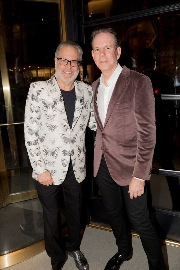 Dallas art collector Howard Rachofsky with celebrity chef Thomas Keller, owner of The French Laundry, at the opening gala of Forty Five Ten.