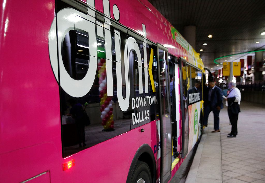 DART's all electric bus at the Convention Center Station in Dallas. The electric bus costs $971,000 and runs on the D-Link, a free downtown circulator route.