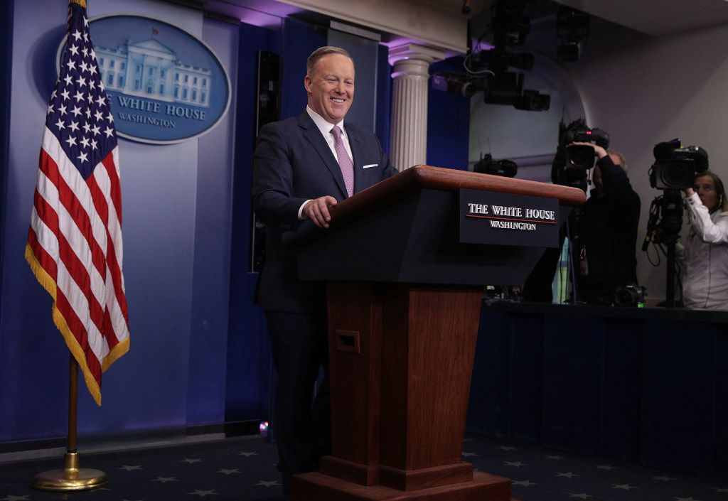 White House Press Secretary Sean Spicer speaks during a daily briefing at the James Brady Press Briefing Room of the White House January 23, 2017 in Washington, DC. (Photo by Alex Wong/Getty Images)