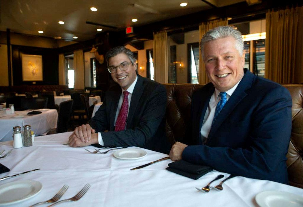 Brad Fuller, director of operations, left, and Al Biernat, owner, pose for a photograph at Al Biernat's in Dallas on Aug. 1, 2018.